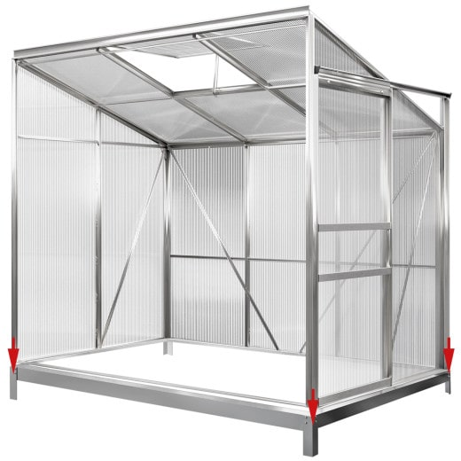 Lean-To Greenhouse Aluminium 6x4ft with Base