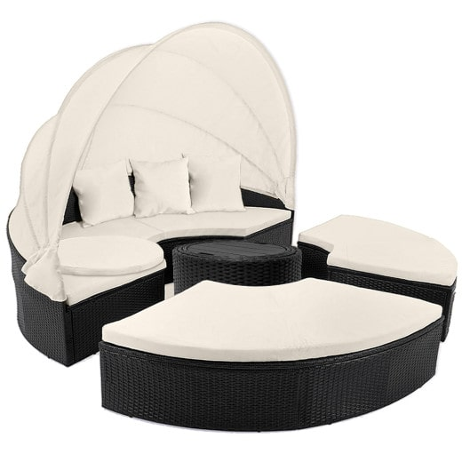 Polyrattan Garden Day Bed Black/Cream 6ft with Telescopic Table