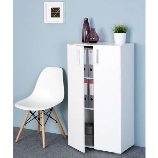 Cabinet Vela White 3.8ft with doors and 3 Tiers
