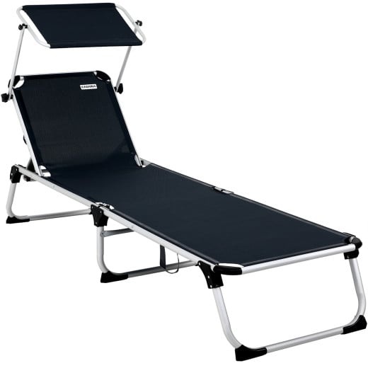 Sun Lounger Aluminium Adjustable Canopy Sunshade Anthracite