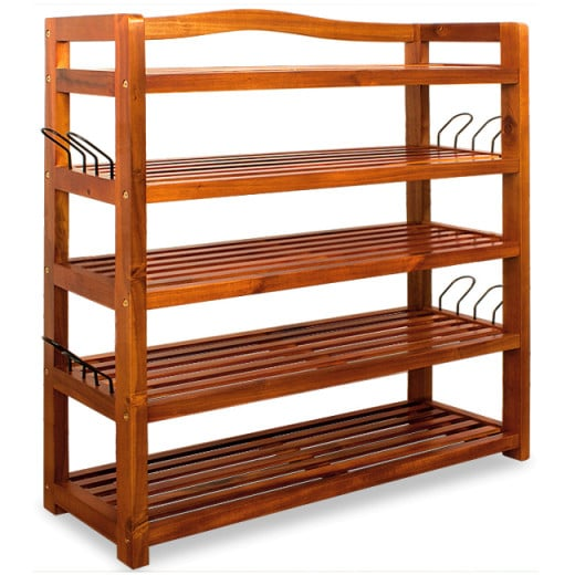 Acacia Wood Shoe Rack with 5 Compartments Brown