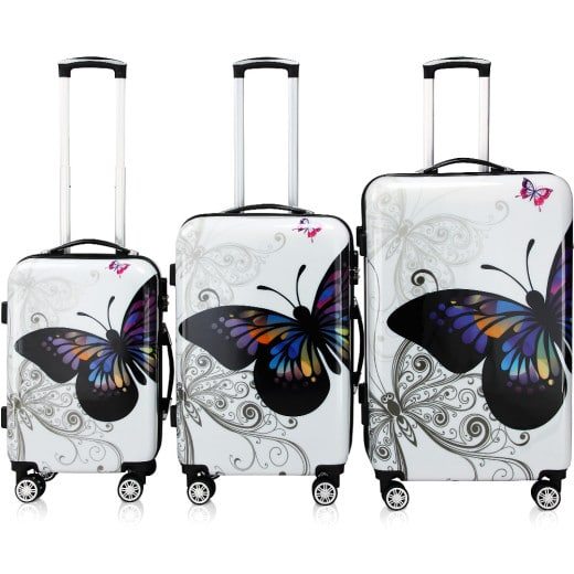 3 Pieces Hard Suitcase Butterfly Lock 360° Double Castors