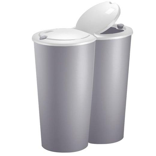 2-Compartment Dustbin Taupe/White Plastic 2x25L