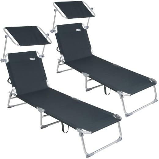 Sun Lounger Ibiza 2Pcs Grey with Sun Shade