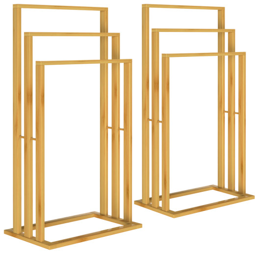 Set of 2 Bamboo Towel Rails with 3 Poles