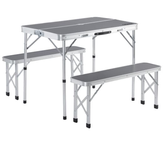 Aluminium Camping Table & 2 Folding Benches with Case Feature Grey
