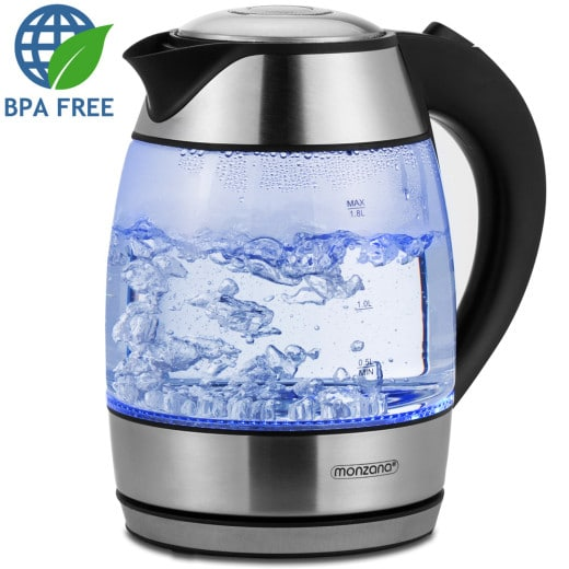 Kettle 1.8L Stainless Steel Glass with Blue LED