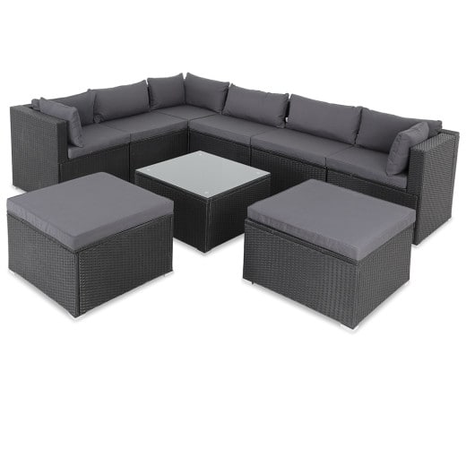 Poly Rattan XXL Lounge Set including 2 stools in Black/Anthracite