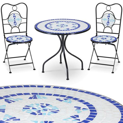 Mosaik Gartisch und 2 Stühle Neptun