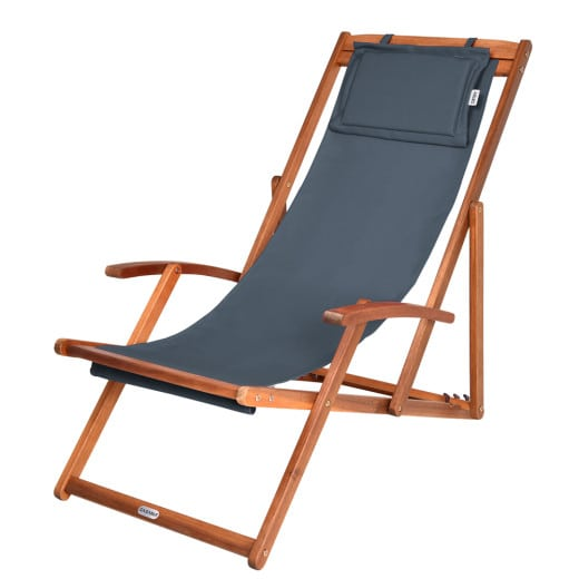 Sun Lounger made of Acacia Wood Adjustable in 3 Positions