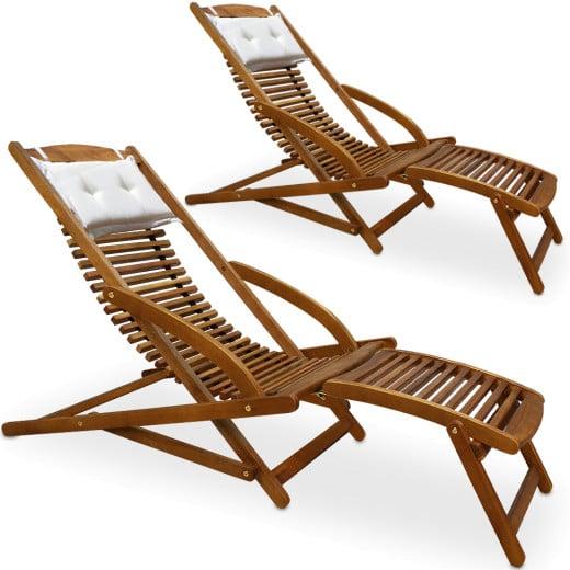 Sun Lounger 2Pcs Acacia Wood incl. Pillow