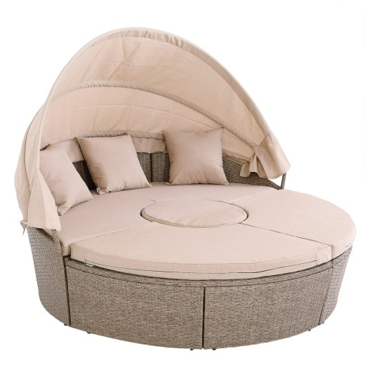 Poly Rattan Garden Day Bed Beige 6ft with Telescopic Table