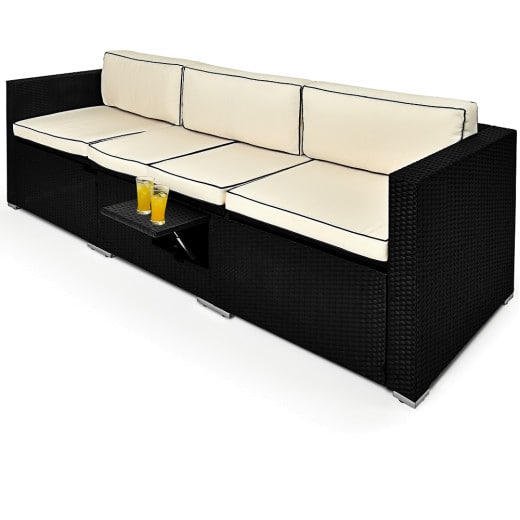 Polyrattan Single Lounge with Back Rest Reclining Chair Function and Black Table