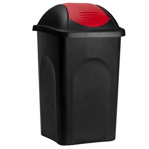 Mülleimer mit Schwingdeckel Kunststoff Schwarz/Rot 60 Liter