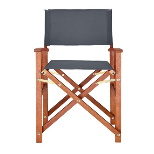 Wooden Director's Chair in Anthracite made from Eucalyptus Wood