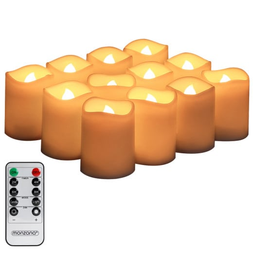 LED Candles Wax Warm White 12Pcs with Remote Timer & Batteries