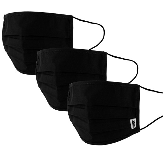 Face Covering Black Cotton - Set of 3