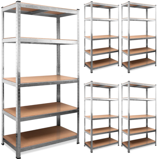 Set of 5 Heavy Duty Shelves made of galvanized metal - 6x3x1.3ft - max. load 875kg