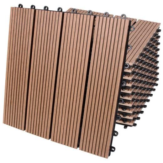WPC Decking Tiles 11Pcs Terracotta 30x30cm