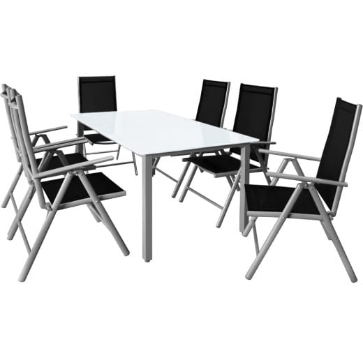 Aluminum Garden Dining Set Outdoor Furniture Bern 6+1 Silver Frosted Glass