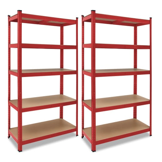 Set of 2 Red Heavy Duty Shelves 6x3x1.3ft max. Load 875kg