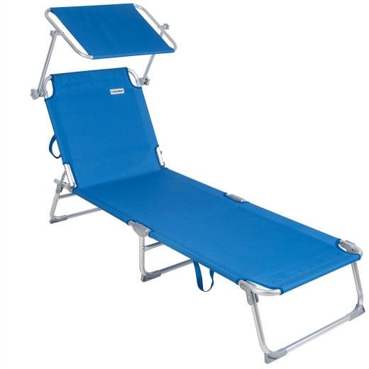 Sun Lounger Ibiza Blue Aluminium with Sun Shade