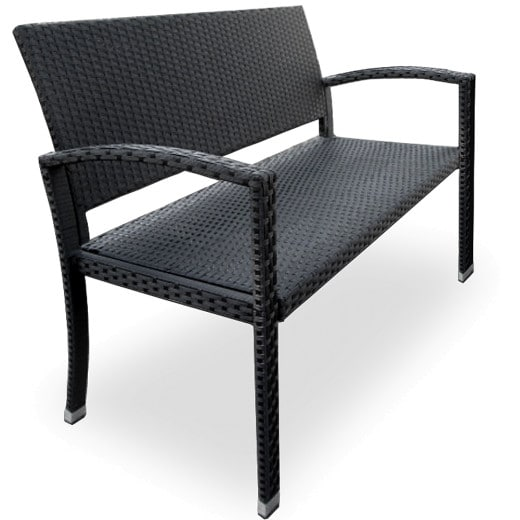 Polyrattan Garden Bench in Black for two Persons