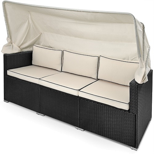 Polyrattan Sun Lounger with Sunscreen and 7cm Bed cover