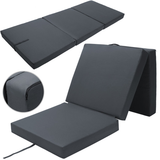 Folding Mattress Guests Camping Anthracite 190 x 70 x 10 cm