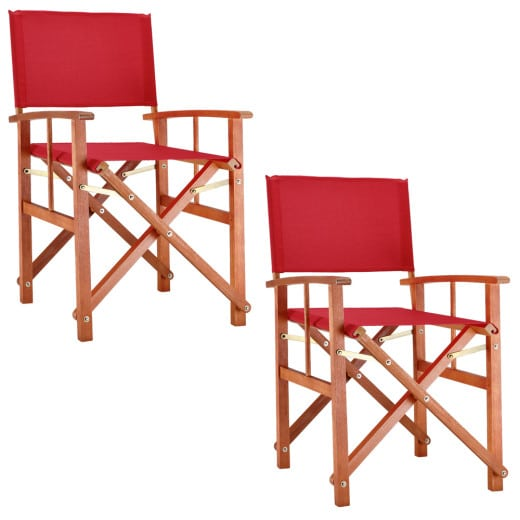 Wooden Director's Chair Set in Red made of Eucalyptus Wood