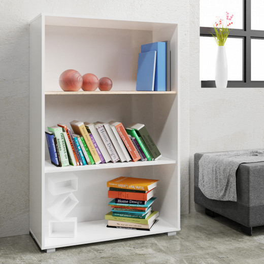 Bookcase Vela White 3.8ft with 3 Tiers