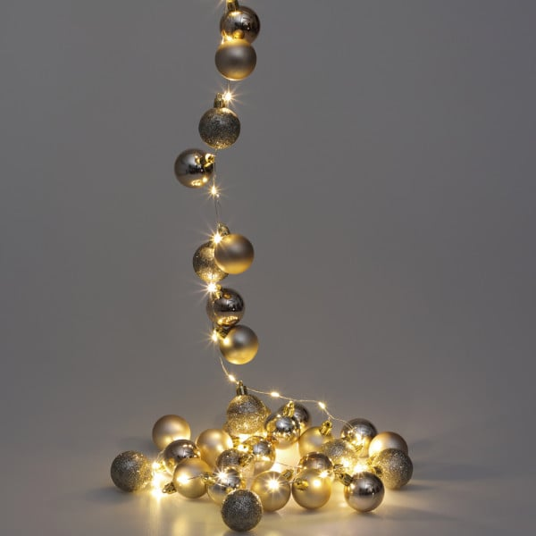 LED String Lights Champagne 2m with Christmas Baubles