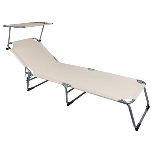 Folding Sun lounger Hawaii with adjustable sun shade in cream/beige