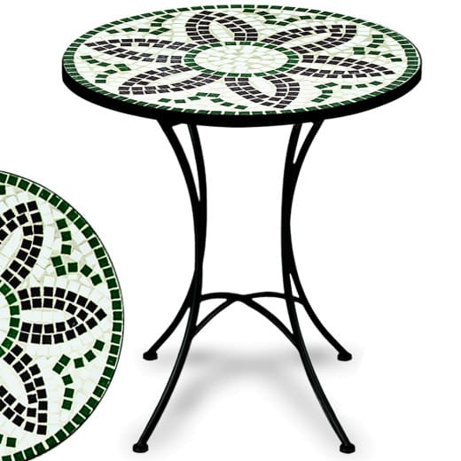 """Mosaic Garden Side Table """"Flora"""" in White, Black and Green"""
