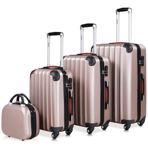 Hardshell Suitcase Rose Gold M,L,XL, Beautycase - Set of 4