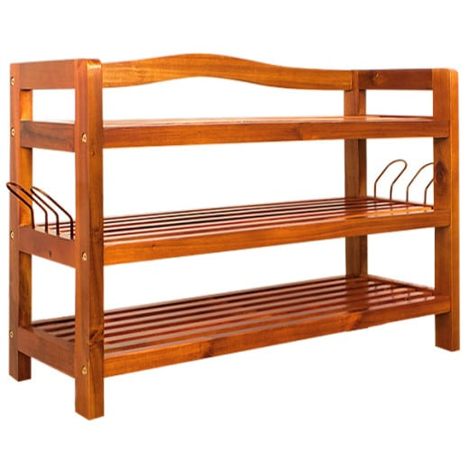 Wooden Shoe Rack with 3 Compartments made of Acacia Wood