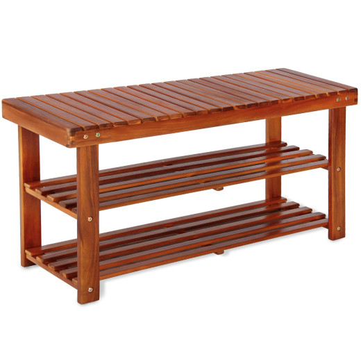 2in1 Wooden Shoe Rack and Bench Seat Acacia Wood 90cm