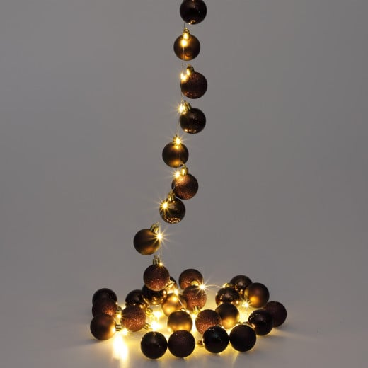 LED String Lights 2m with Brown Christmas Baubles