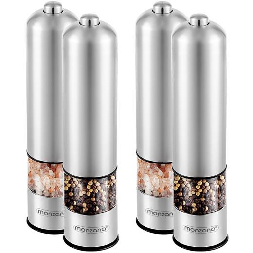 Set of 4 Electronic Salt & Pepper Grinder 2in1