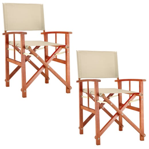 Wooden Director's Chair Set in Cream made of Eucalyptus Wood