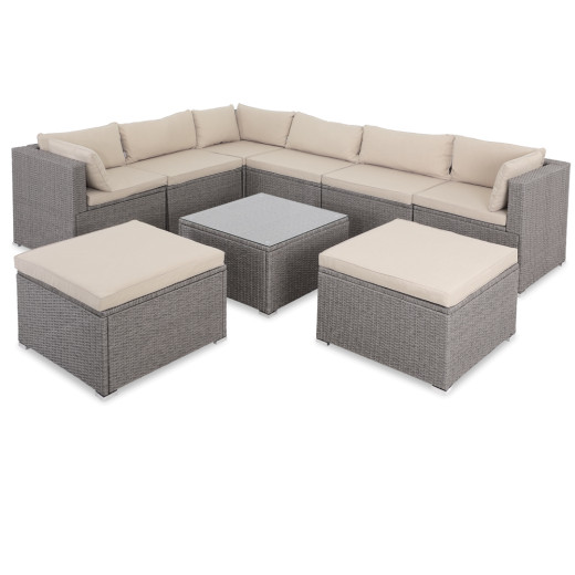 Poly Rattan XXL Lounge Set including 2 stools in Cream/Cream