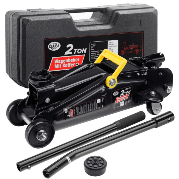 Hydraulic Trolley Jack Black with Case - 2 Tons Lifting Weight