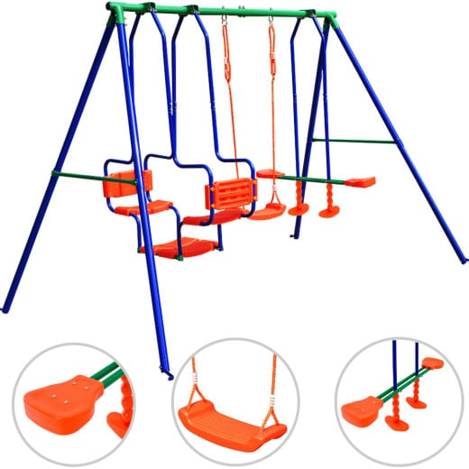 Swing set with rocking chairs, see saw, classic swing - max.250kg - outdoor play
