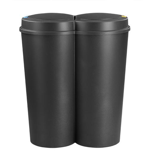 Double Dustbin Black 2x25L