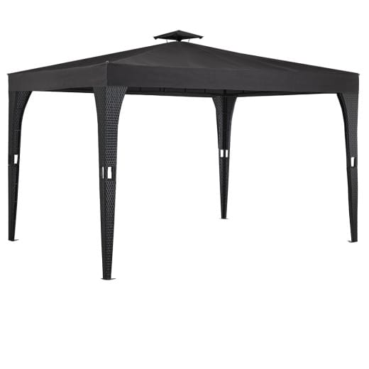 Poly Rattan Gazebo in Black and Anthracite 3x4m