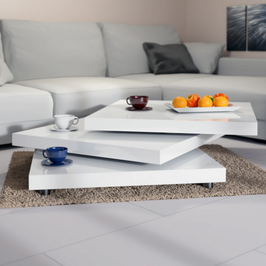 Coffee Table New York 2x2ft White - Rotatable