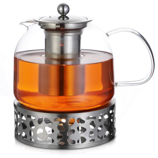 Teapot Glass with Warmer & Infuser 1,5l
