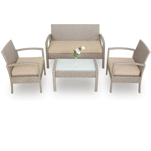 Polyrattan Garden Lounge Set 7Pcs Grey/Beige