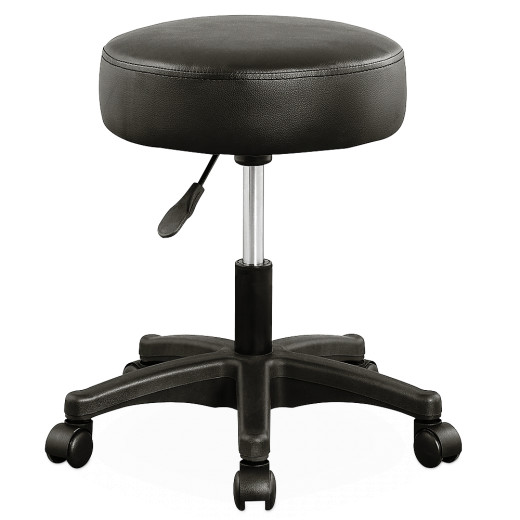 Stool with Wheels in Black made of Faux Leather