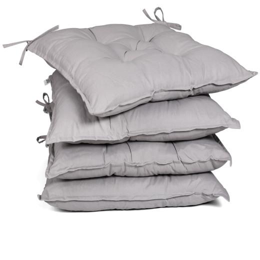 Seat Cushions 4Pcs Light Grey 40x40x8cm